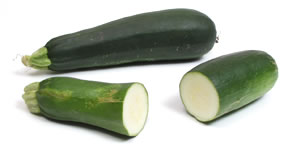 UK: Courgette – US: Zucchini [give one point for each answer]