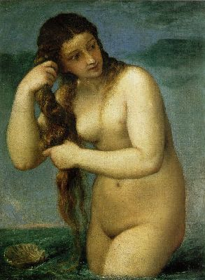 Titian  (painting is called Venus Anadyomen)